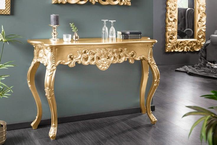 Elegante Konsole VENICE 110cm gold Barock Design Anrichte handgearbeitet