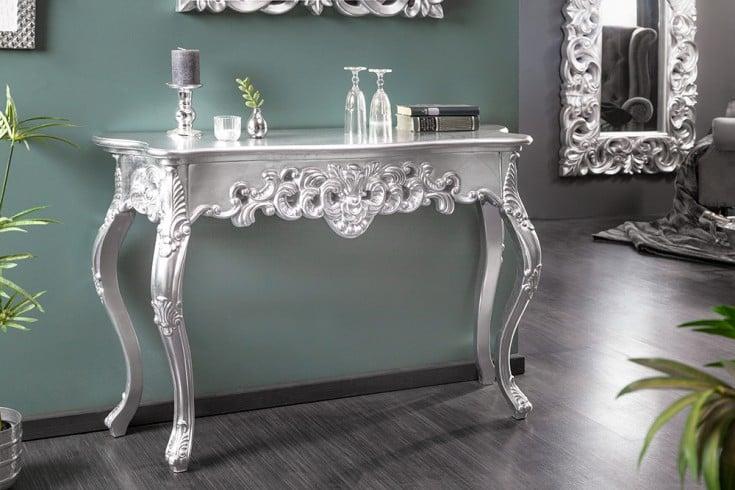 Elegante Konsole VENICE 110cm silber Barock Design Anrichte handgearbeitet