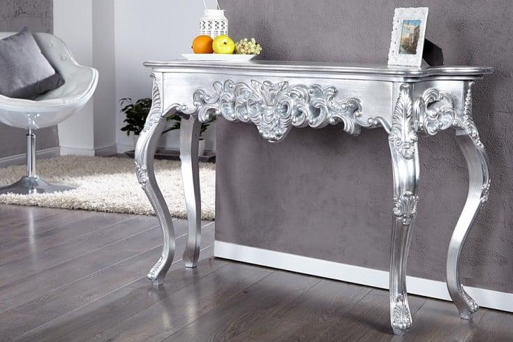 Elegante Barocke Konsole VENICE silber 110cm