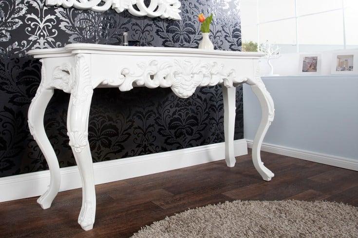 Elegante Konsole VENICE 110cm weiß Barock Design Anrichte handgearbeitet