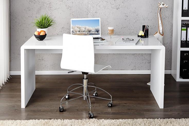 Design Schreibtisch FAST TRADE hochglanz weiß 120cm Bürotisch