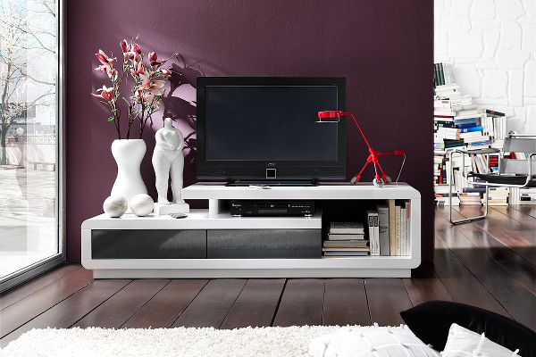 elegantes tv lowboard celia original mca hochglanz weiss anthrazit 170cm riess ambiente onlineshop. Black Bedroom Furniture Sets. Home Design Ideas