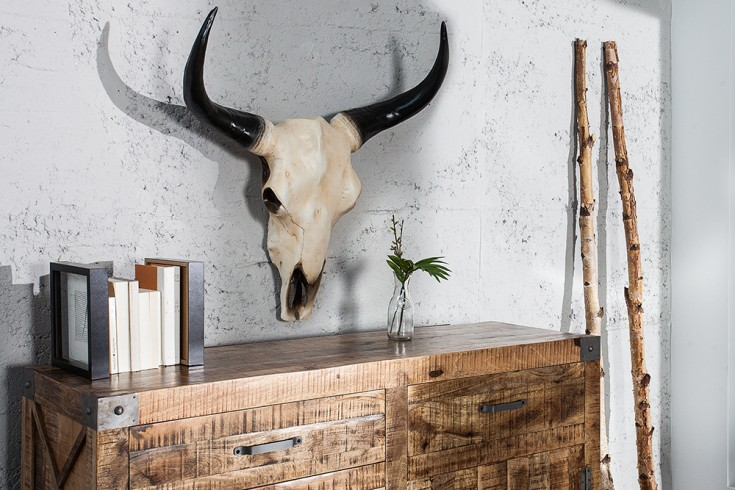eindrucksvoller longhorn skull el toro 65cm natur b ffelsch del deko geweih wanddeko riess. Black Bedroom Furniture Sets. Home Design Ideas