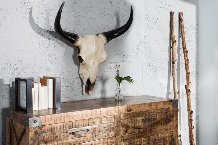 eindrucksvoller longhorn skull el toro 65cm natur b ffelsch del deko geweih wanddeko riess. Black Bedroom Furniture Sets. Home Design Ideas