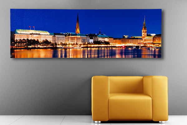 eindrucksvoller kunstdruck hamburg binnenalster 45x140cm auf leinwand keilrahmen und canvas. Black Bedroom Furniture Sets. Home Design Ideas