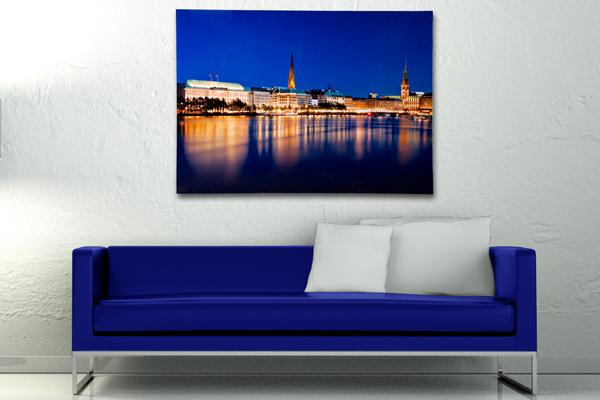 Eindrucksvoller Kunstdruck HAMBURG BINNENALSTER 50x70cm auf Leinwand Keilrahmen und Canvas Leinengewebe