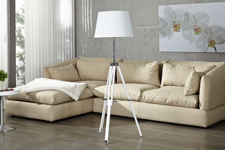 Elegante Design Stehlampe SYLT höhenverstellbar weiß