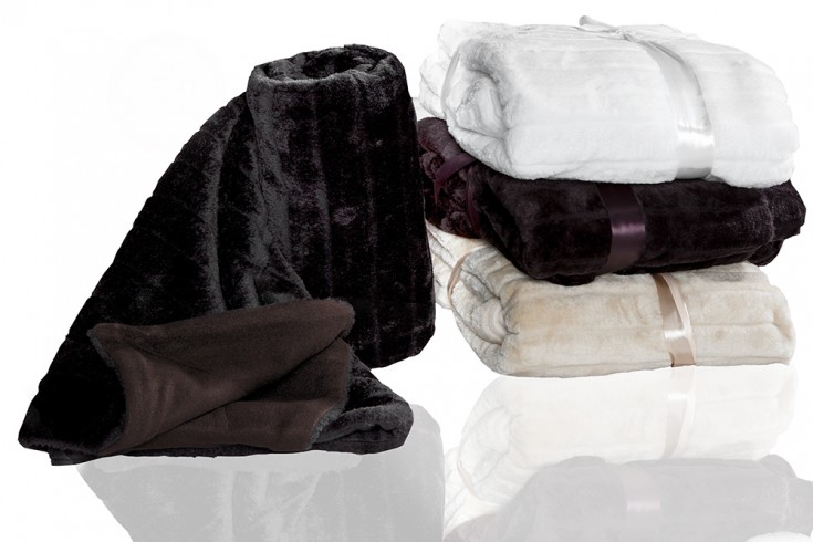 Extravagante Tagesdecke schwarz in Nerz Optik 130x160cm