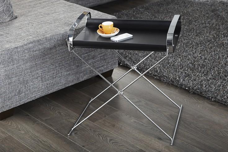 Eleganter Tablett-Tisch SERVIDOR Beistelltisch schwarz chrom