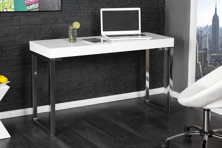 Design Konsole WHITE DESK 120cm weiß Hochglanz Bürotisch