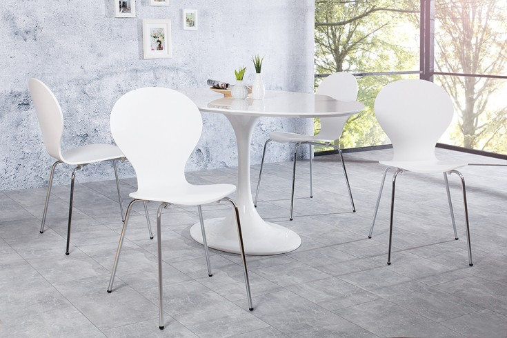 4er Set Stuhl FORM Designklassiker aus hochwertigem Formholz weiß stapelbar