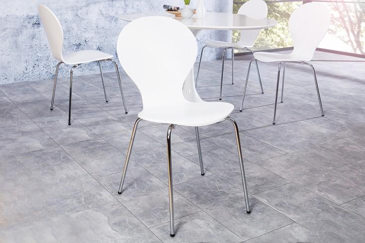 Design Stuhl FORM Designklassiker aus hochwertigem Formholz weiß stapelbar