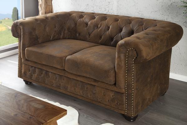 Edles Chesterfield 2er Sofa Antik braun Knopfheftung