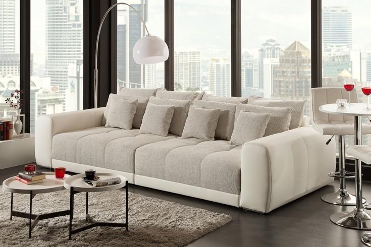 Modernes XXL Sofa GIANT LOUNGE 300cm greige inkl. Kissen