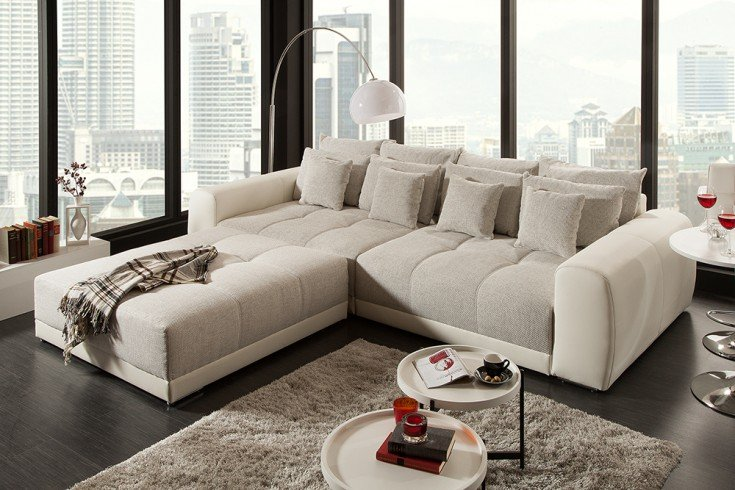 riesiger hocker zu xxl sofa giant lounge in trendfarbe greige riess. Black Bedroom Furniture Sets. Home Design Ideas