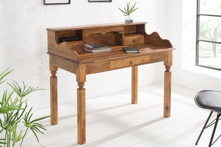 Exklusiver Sekretär HEMINGWAY L Sheesham Massivholz 115cm Schreibtisch einzigartige Maserung