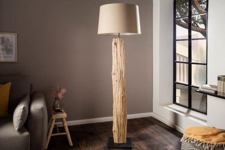 Handgearbeitete Stehlampe ROUSILIQUE 175cm beige Treibholzlampe Leinenschirm