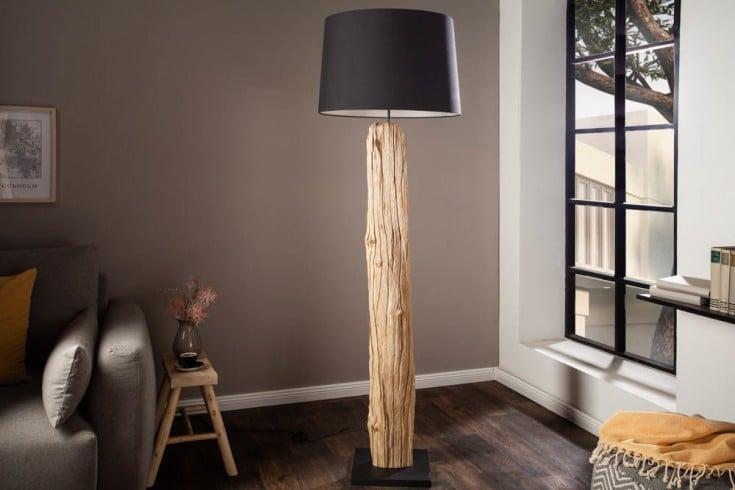 Handgearbeitete Stehlampe ROUSILIQUE 175cm schwarz Treibholzlampe Leinenschirm