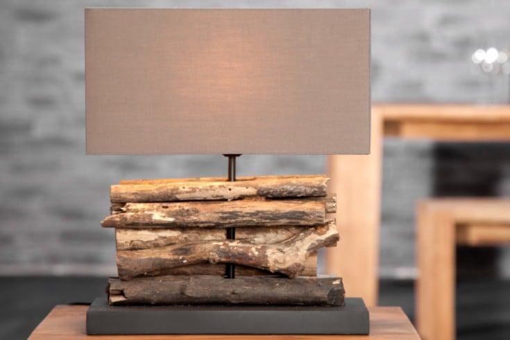 Handgefertigte Tischlampe PERIFERE 40cm braun Treibholz Leinenschirm