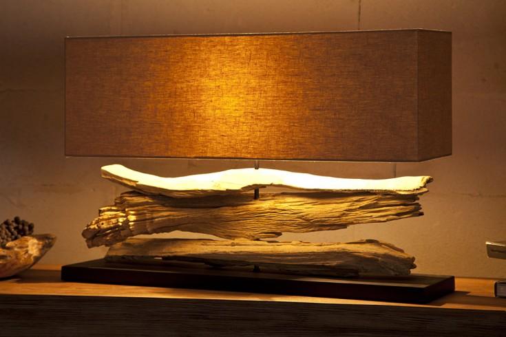 Handgearbeitete Tischlampe RIVERINE 80cm beige Treibholzfuß mit Leinenschirm