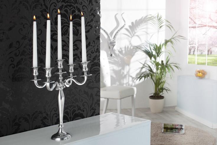 Barocker Kerzenständer 40cm silber 5-armig Lüster Aluminium poliert Kerzenhalter