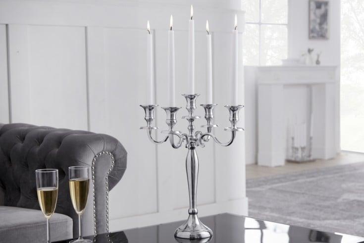 Barocker Kerzenständer 41cm silber 5-armig Lüster Aluminium poliert Kerzenhalter