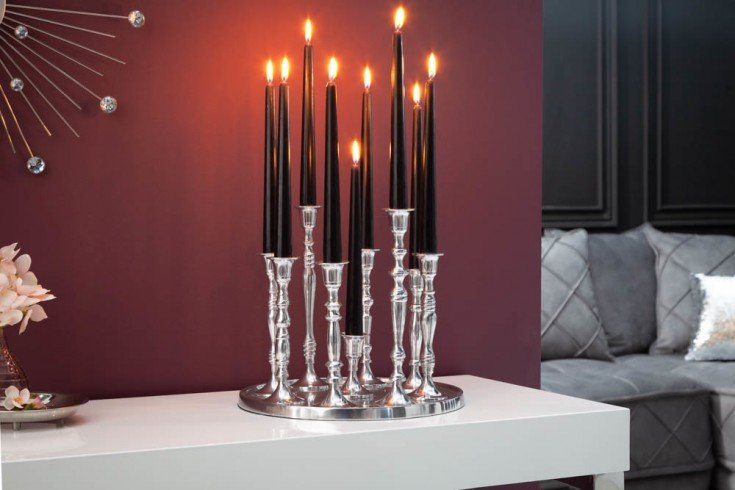 Barocker Kerzenständer 9-flammig silber Aluminium poliert Kerzenhalter Deko-Platte