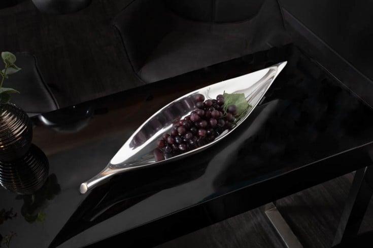 Moderne Deko Schale SILVER LEAF 41cm silber Aluminium