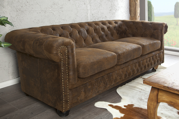 edles chesterfield 3er sofa antik look knopfheftung riess. Black Bedroom Furniture Sets. Home Design Ideas