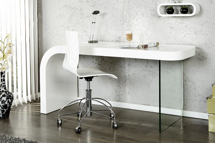 Innovativer Schreibtisch ONYX 140cm Hochglanz weiß Bürotisch