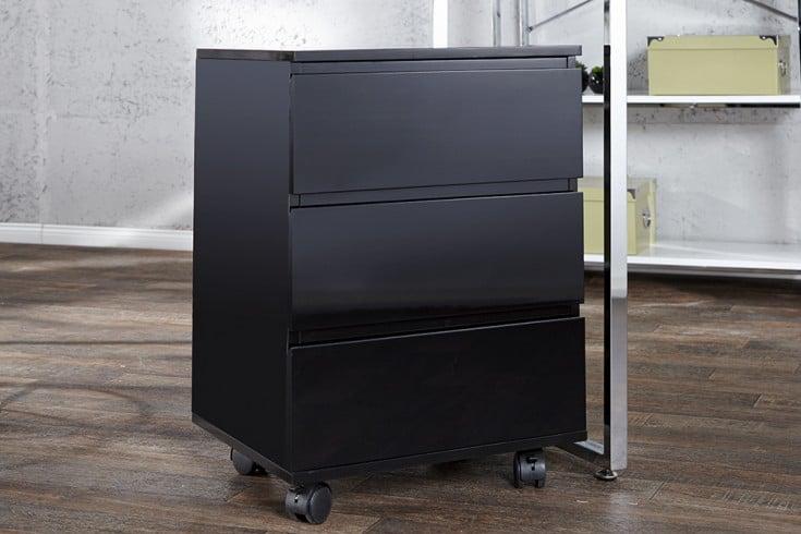 Moderner Rollcontainer BIG DEAL 45cm Hochglanz schwarz 3 Schubladen