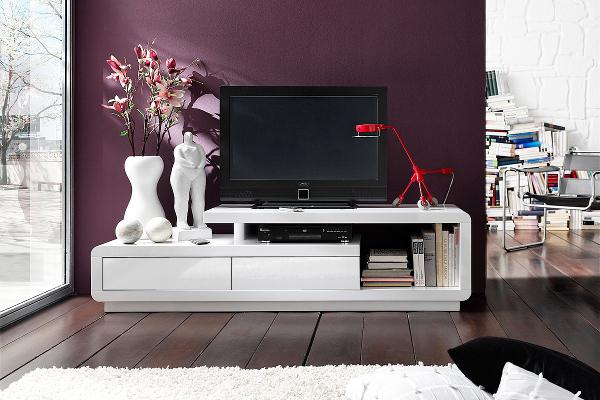 Modernes TV Lowboard hochglanz CELIA Original MCA weiß 170cm