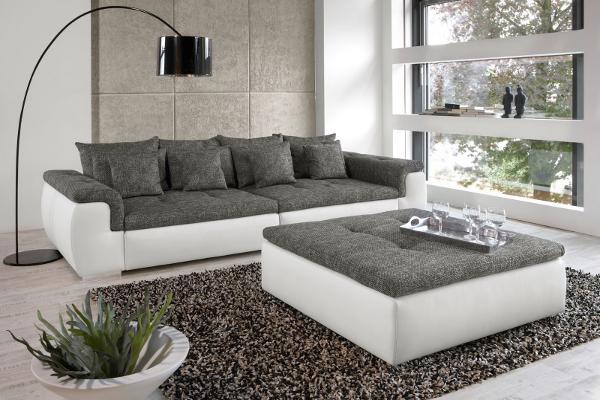 Design XXL Sofa BIG POINT weiss Strukturstoff anthrazit