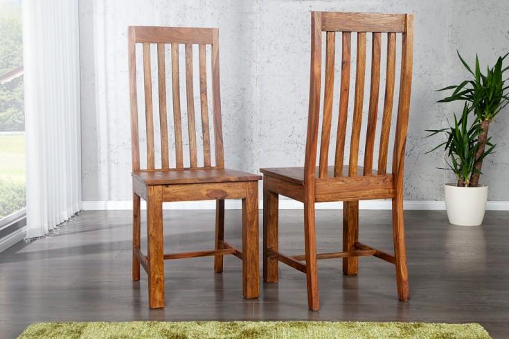 Massiver Stuhl MAKASSAR Sheesham Holzstuhl Hochlehner Massivholz