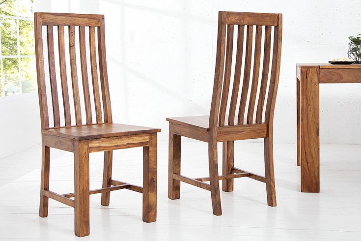 Massiver Stuhl MAKASSAR Sheesham Hochlehner Holzstuhl einzigartige Maserung