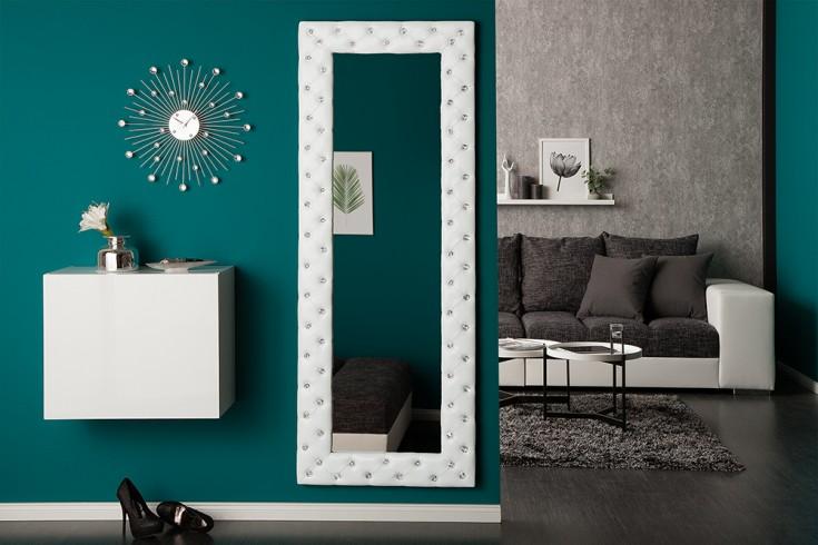 Pompöser Spiegel BOUTIQUE 170x60 cm weiß mit Strassknöpfen