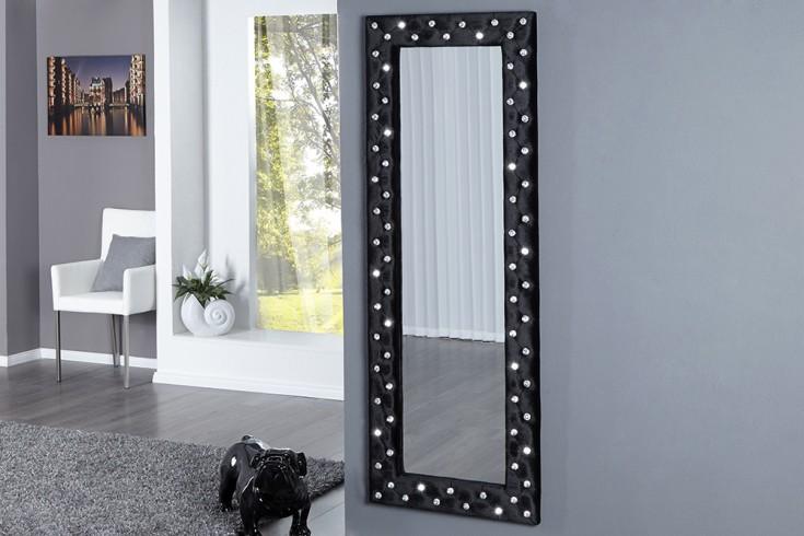 Pompöser Spiegel BOUTIQUE 170x60 cm schwarz Samtstoff mit Strassknöpfen