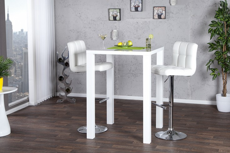 design bartisch bistrotisch lucente hochglanz weiss 80x80x105cm riess ambiente onlineshop. Black Bedroom Furniture Sets. Home Design Ideas