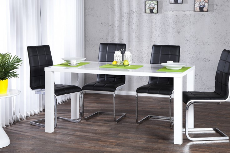 design esstisch lucente weiss hochglanz 140cm tisch. Black Bedroom Furniture Sets. Home Design Ideas