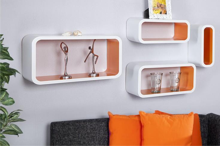 4er Set Design Regal CLUB CUBE LARGE 45cm weiß orange Retro Lounge Wandregal