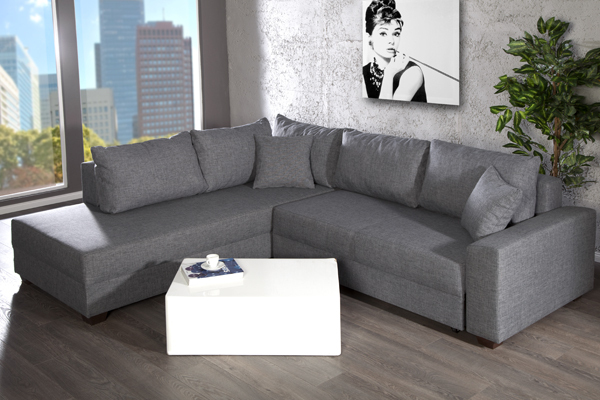 design ecksofa apartment strukturstoff grau federkern sofa schlaffunktion riess. Black Bedroom Furniture Sets. Home Design Ideas