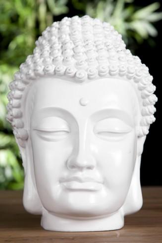 Design buddha kopf highgloss weiss skulptur deko Buddha kopf deko