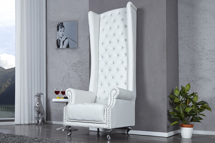 Thronstuhl Sessel ROYAL CHAIR mit Strass Knöpfen weiß