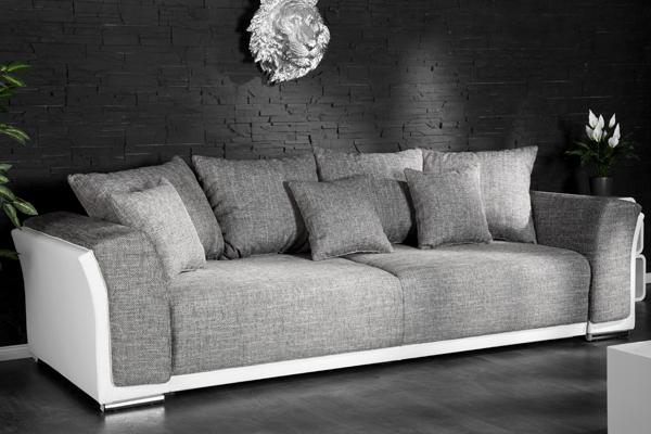 Design Big XL Sofa BELLA Hellgrau Strukturstoff Weiss