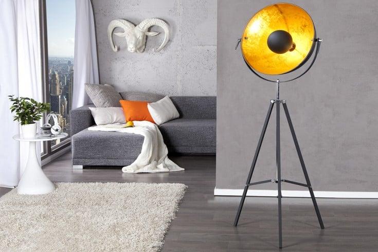 Höhenverstellbare Stehlampe BIG STUDIO 160cm schwarz Blattgold-Optik