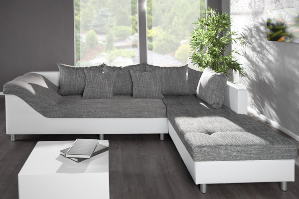 gro es ecksofa sultan weiss strukturstoff grau ot rechts. Black Bedroom Furniture Sets. Home Design Ideas