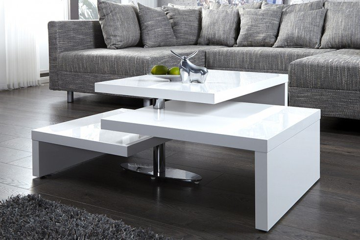 Funktioneller Design Couchtisch HIGHCLASS Hochglanz Lack weiß Tisch
