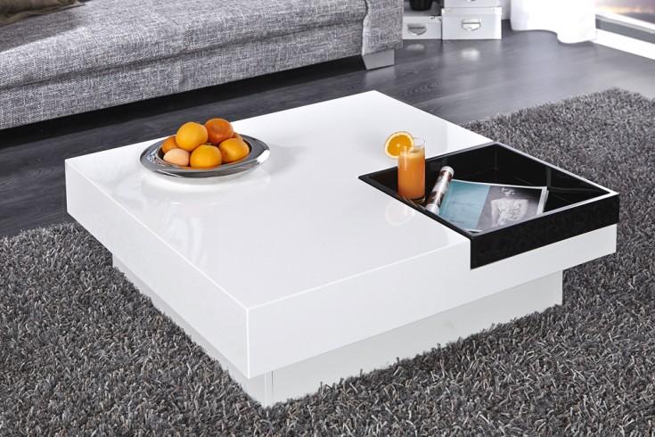design couchtisch cuebase mit integriertem tablett wei hochglanz riess ambiente onlineshop. Black Bedroom Furniture Sets. Home Design Ideas