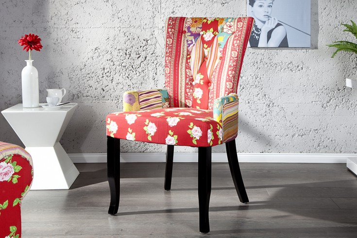 design patchwork stuhl mehrfarbig mit armlehne riess. Black Bedroom Furniture Sets. Home Design Ideas
