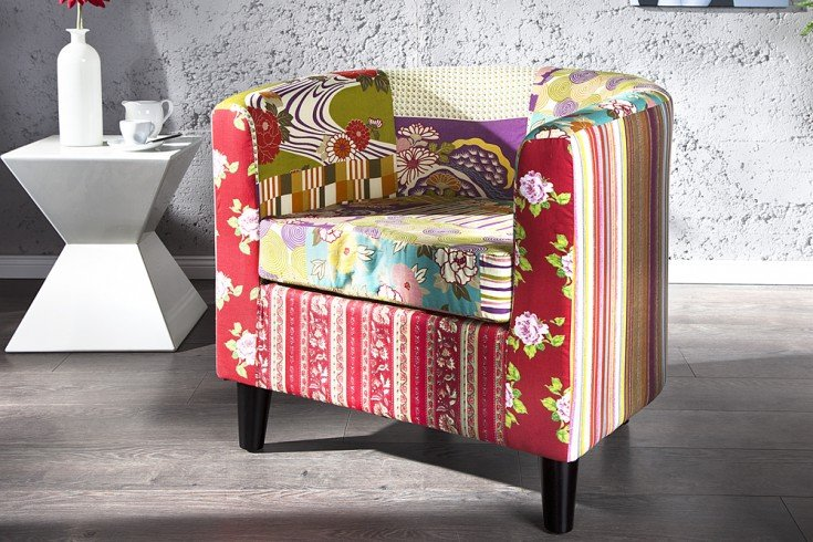 Design patchwork clubsessel ibiza mehrfarbig sessel for Design patchwork stuhl ibiza